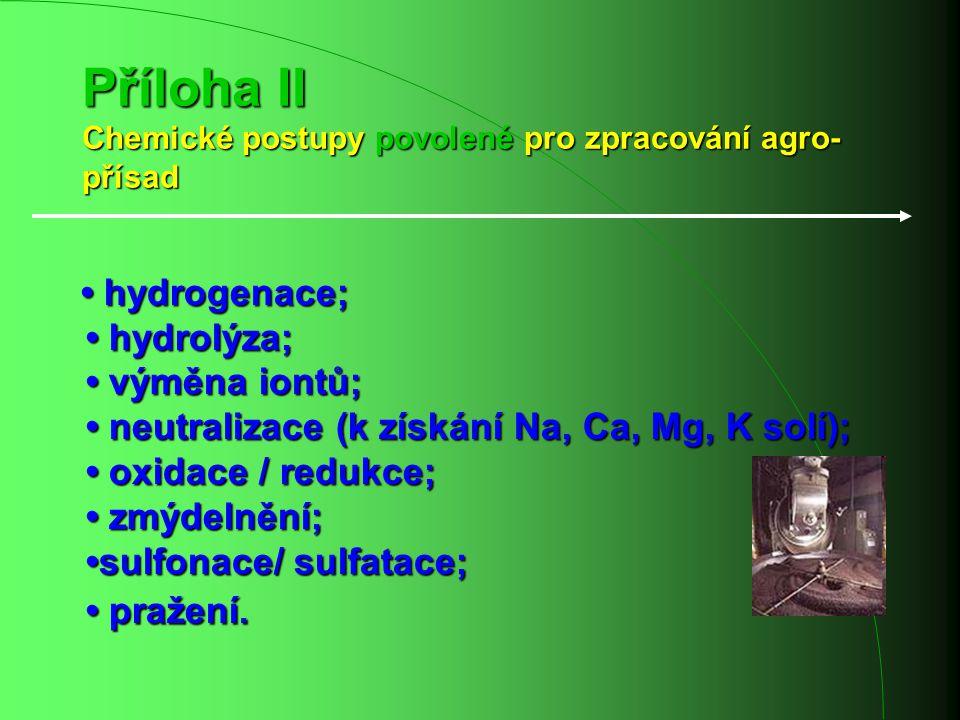 Příloha II Chemické postupy povolené pro zpracování agro-přísad