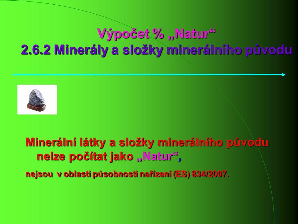 """Výpočet % """"Natur 2.6.2 Minerály a složky minerálního původu"""