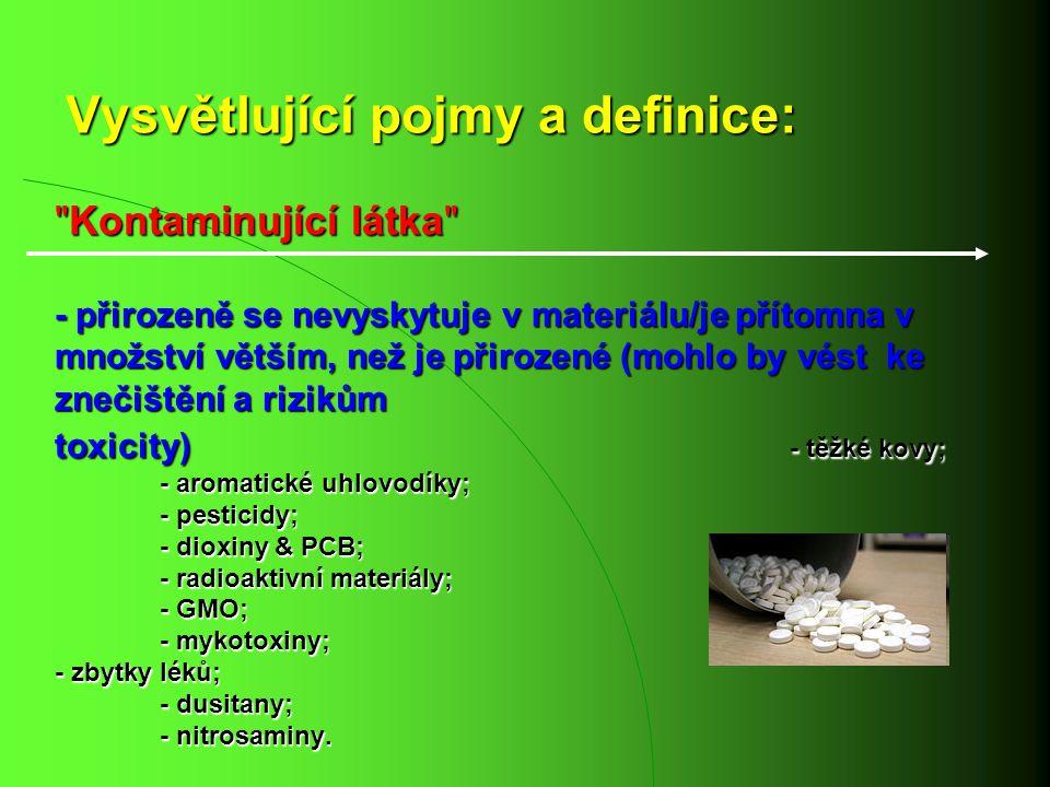 Vysvětlující pojmy a definice: Kontaminující látka - přirozeně se nevyskytuje v materiálu/je přítomna v množství větším, než je přirozené (mohlo by vést ke znečištění a rizikům toxicity) - těžké kovy; - aromatické uhlovodíky; - pesticidy; - dioxiny & PCB; - radioaktivní materiály; - GMO; - mykotoxiny; - zbytky léků; - dusitany; - nitrosaminy.