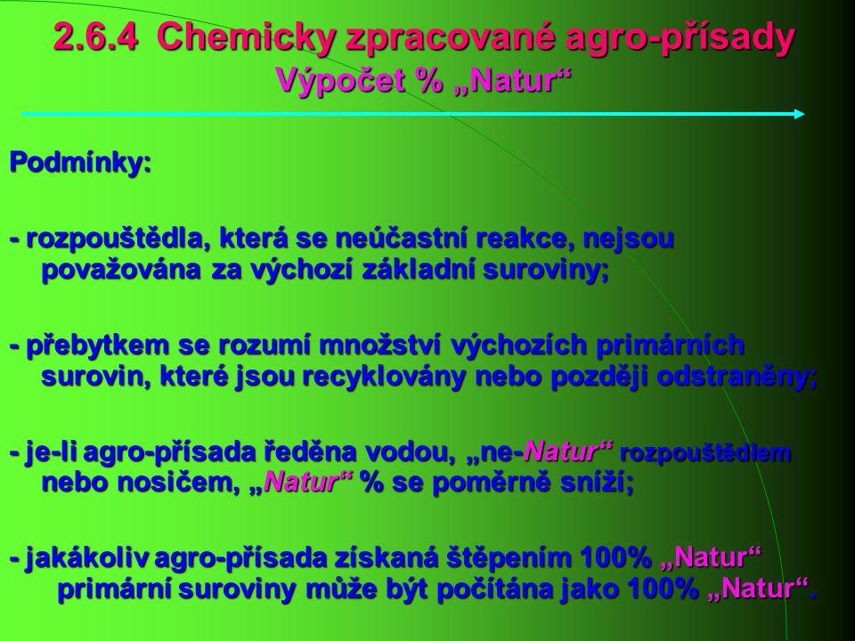 """2.6.4 Chemicky zpracované agro-přísady Výpočet % """"Natur"""