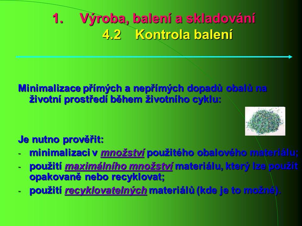 Výroba, balení a skladování 4.2 Kontrola balení