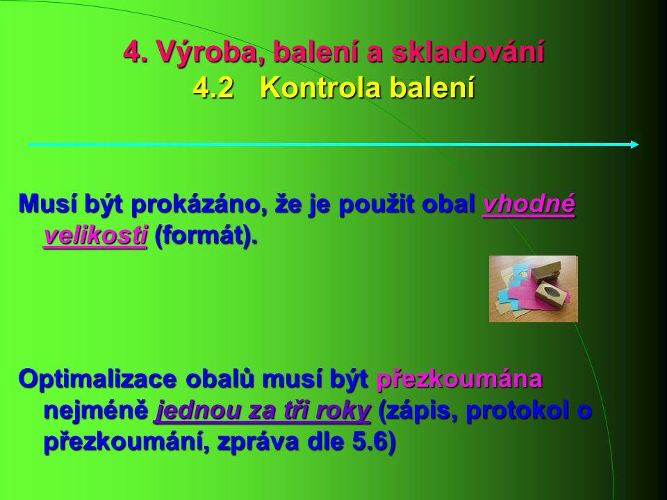 4. Výroba, balení a skladování 4.2 Kontrola balení