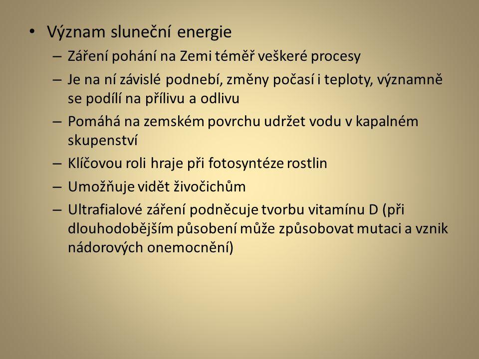 Význam sluneční energie