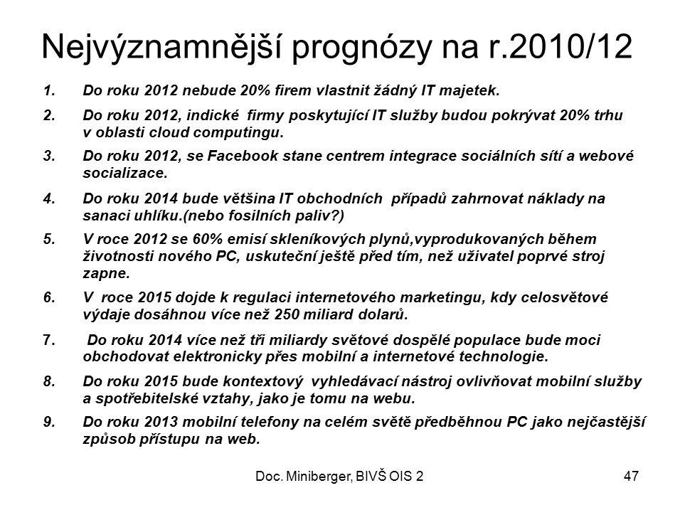Nejvýznamnější prognózy na r.2010/12