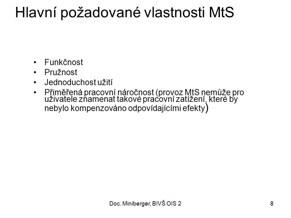 Hlavní požadované vlastnosti MtS
