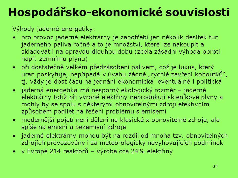 Hospodářsko-ekonomické souvislosti
