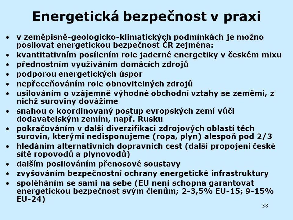 Energetická bezpečnost v praxi