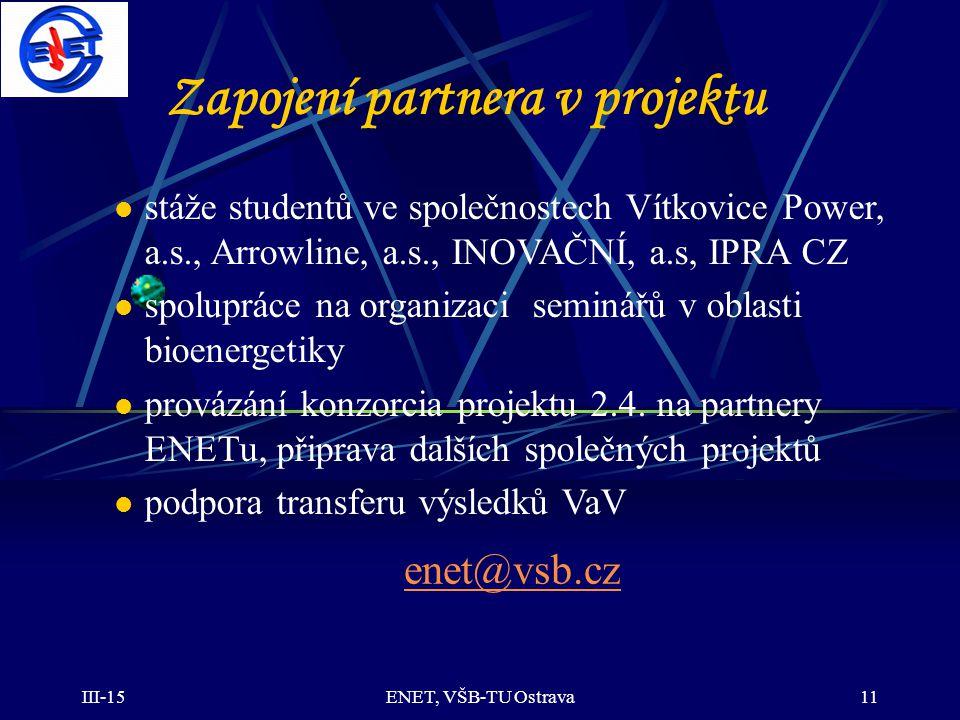 Zapojení partnera v projektu