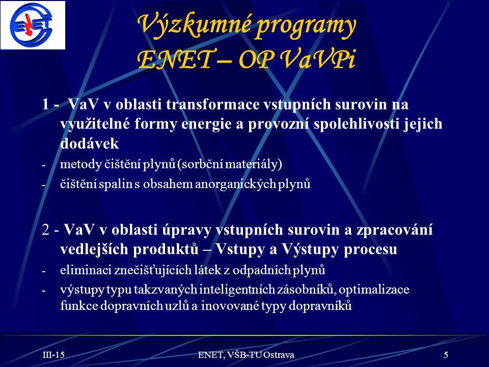 Výzkumné programy ENET – OP VaVPi