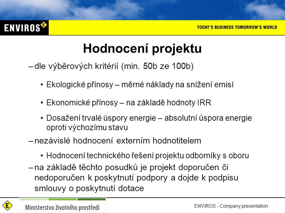 Hodnocení projektu dle výběrových kritérií (min. 50b ze 100b)