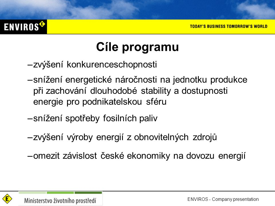 Cíle programu zvýšení konkurenceschopnosti