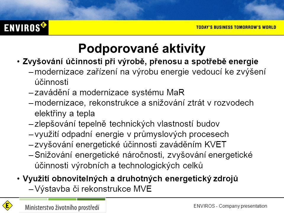 Podporované aktivity Zvyšování účinnosti při výrobě, přenosu a spotřebě energie. modernizace zařízení na výrobu energie vedoucí ke zvýšení účinnosti.