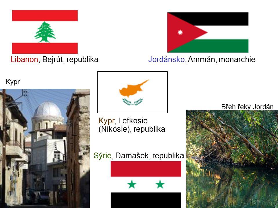 Libanon, Bejrút, republika Jordánsko, Ammán, monarchie