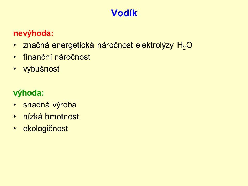 Vodík nevýhoda: značná energetická náročnost elektrolýzy H2O