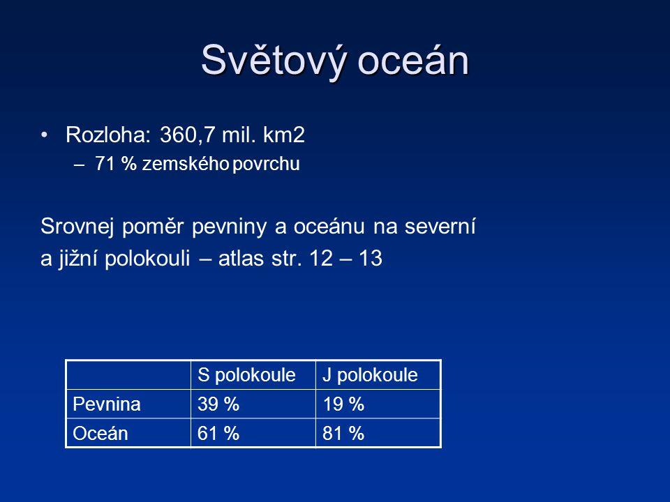 Světový oceán Rozloha: 360,7 mil. km2