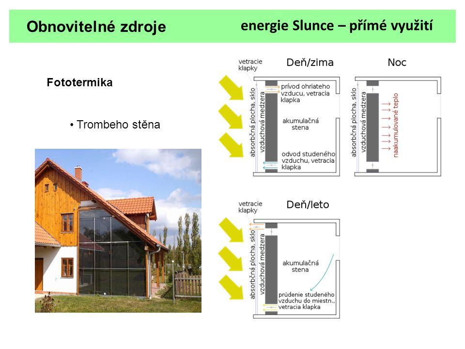 energie Slunce – přímé využití