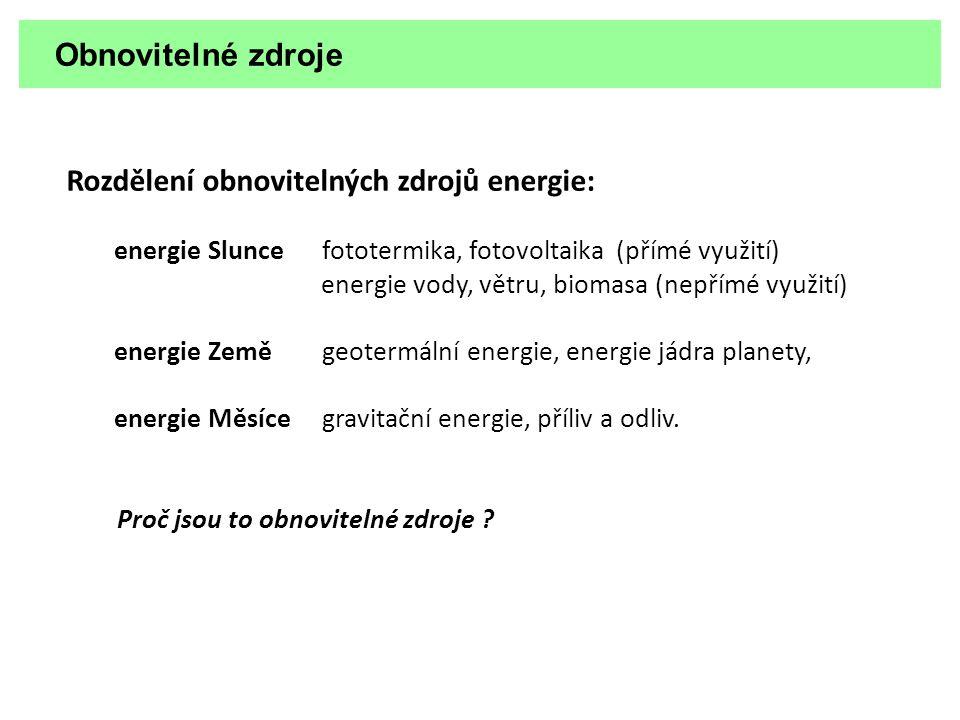 Rozdělení obnovitelných zdrojů energie: