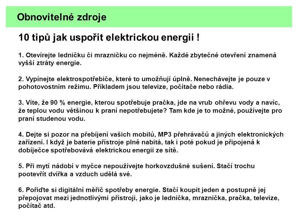 10 tipů jak uspořit elektrickou energii !
