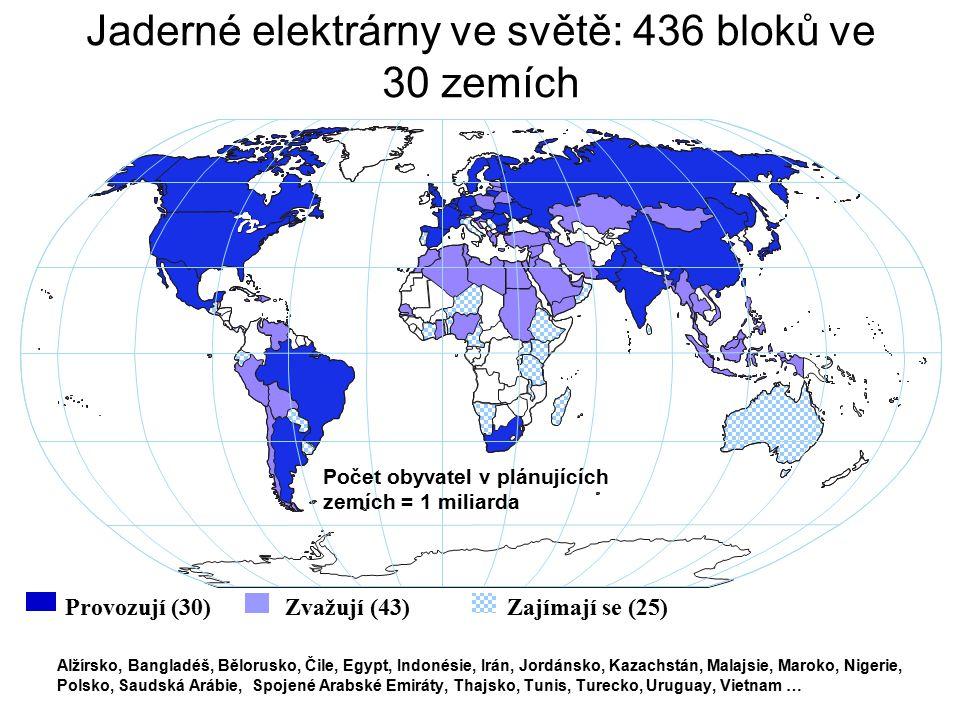 Jaderné elektrárny ve světě: 436 bloků ve 30 zemích