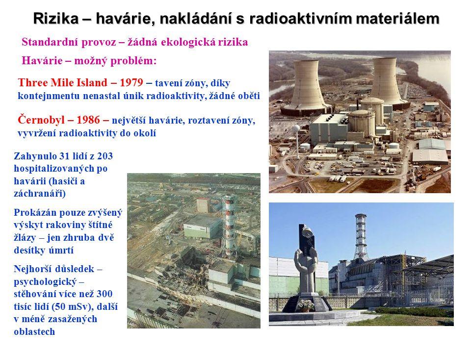 Rizika – havárie, nakládání s radioaktivním materiálem