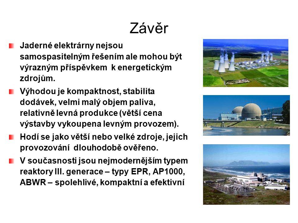 Závěr Jaderné elektrárny nejsou samospasitelným řešením ale mohou být výrazným příspěvkem k energetickým zdrojům.