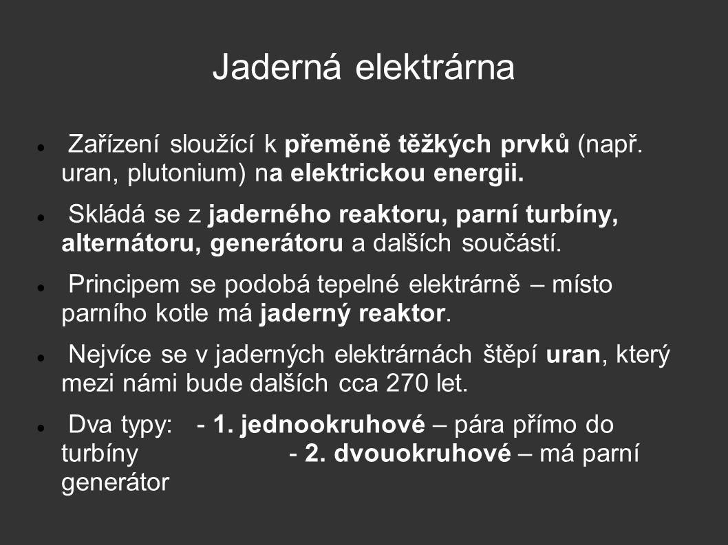 Jaderná elektrárna Zařízení sloužící k přeměně těžkých prvků (např. uran, plutonium) na elektrickou energii.