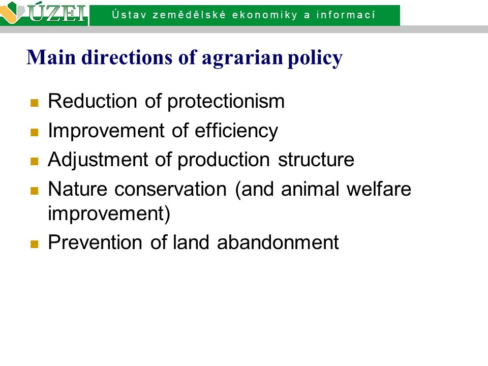 Main directions of agrarian policy