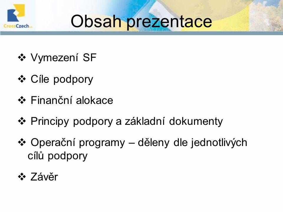 Obsah prezentace Vymezení SF Cíle podpory Finanční alokace