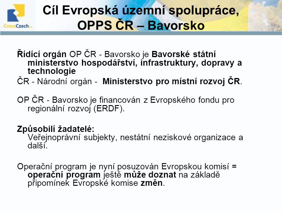 Cíl Evropská územní spolupráce, OPPS ČR – Bavorsko