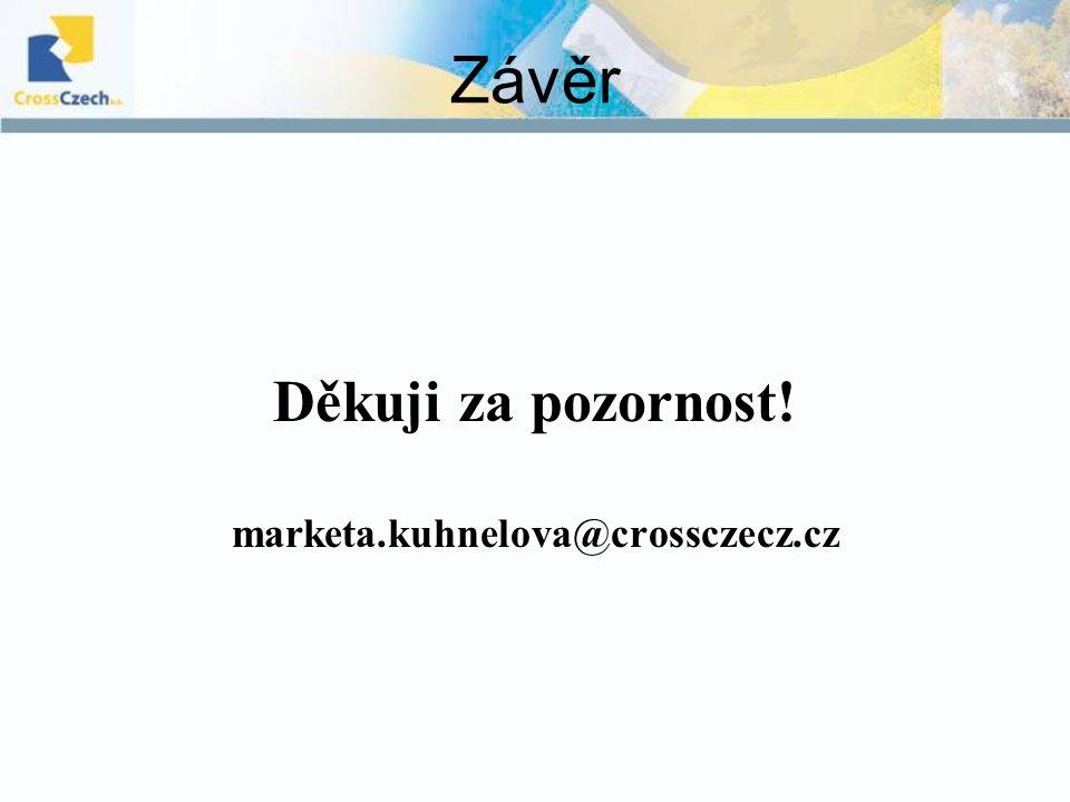 Závěr Děkuji za pozornost! marketa.kuhnelova@crossczecz.cz