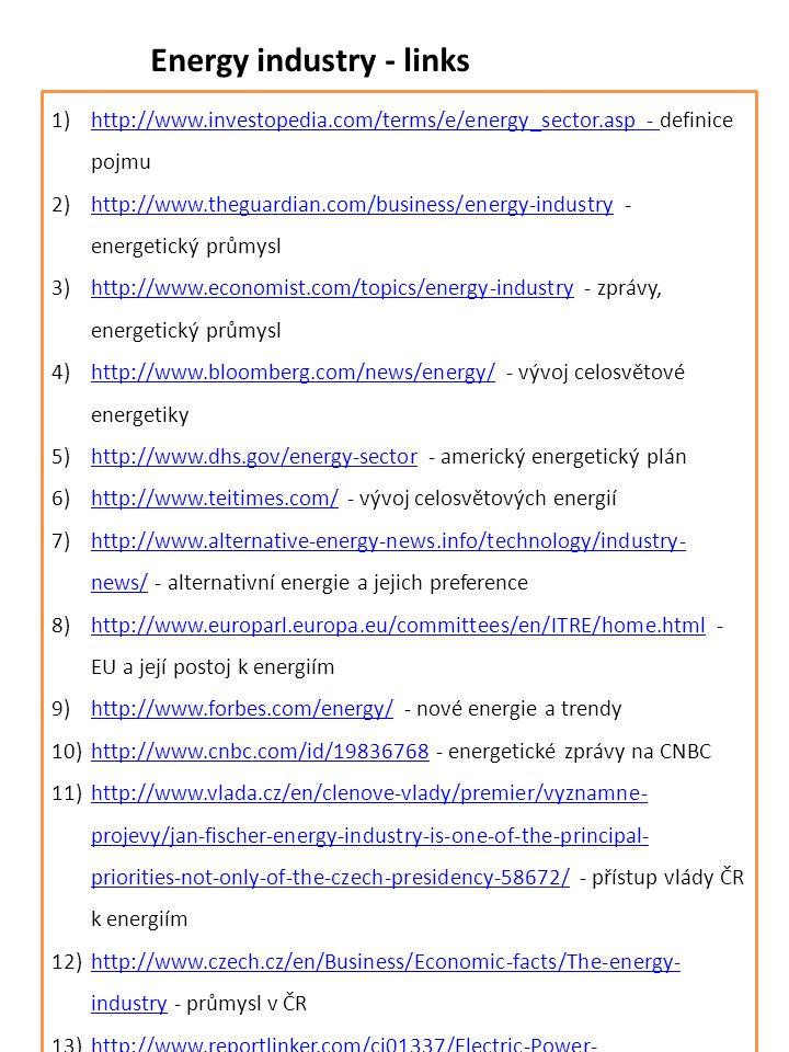 Energy industry - links