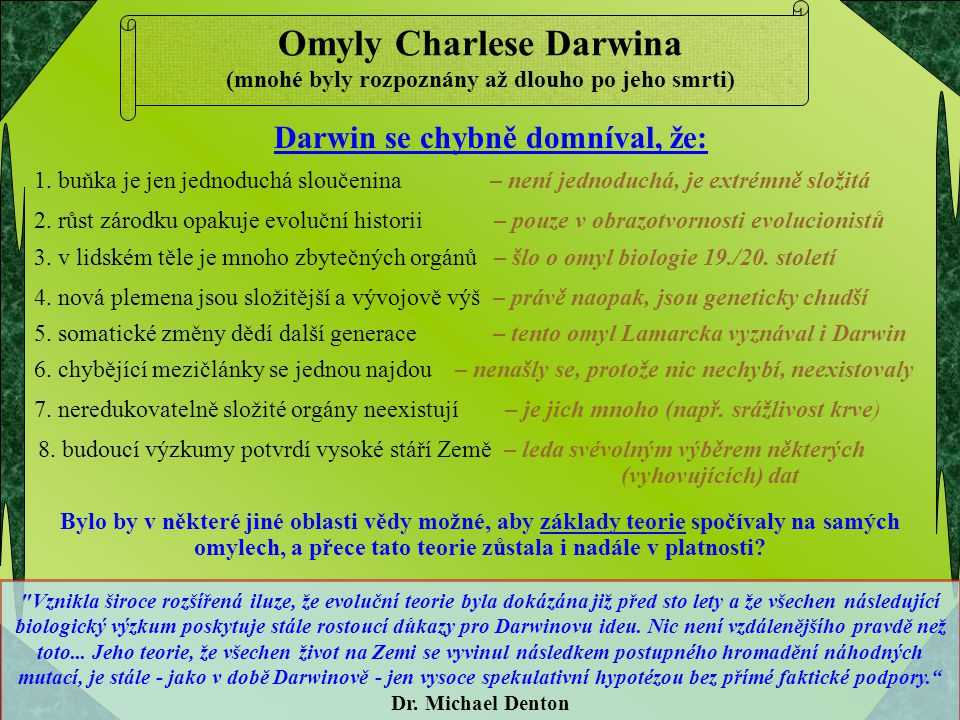 Omyly Charlese Darwina (mnohé byly rozpoznány až dlouho po jeho smrti)
