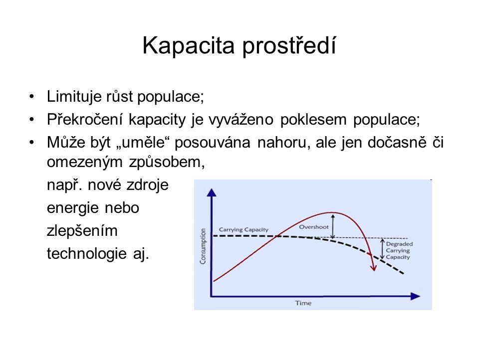 Kapacita prostředí Limituje růst populace;