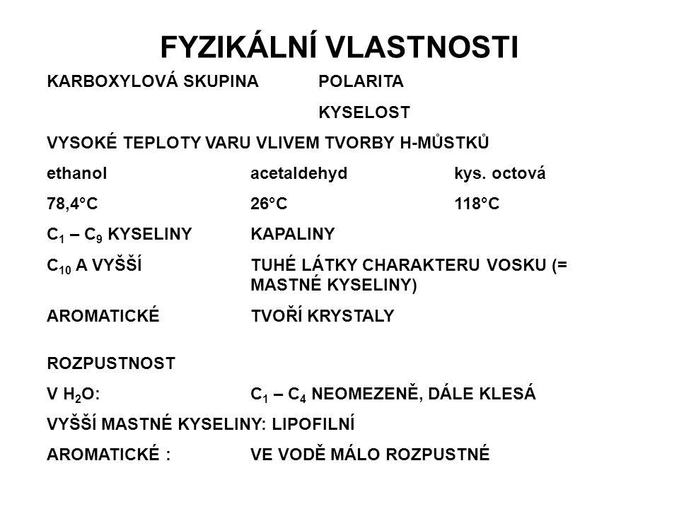 FYZIKÁLNÍ VLASTNOSTI KARBOXYLOVÁ SKUPINA POLARITA KYSELOST