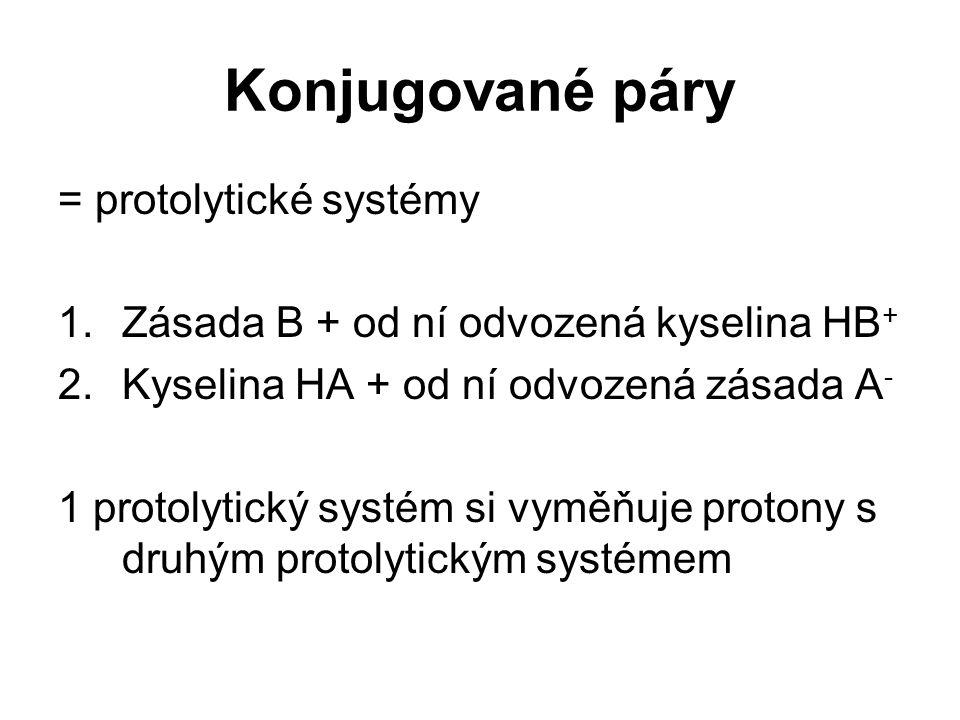 Konjugované páry = protolytické systémy