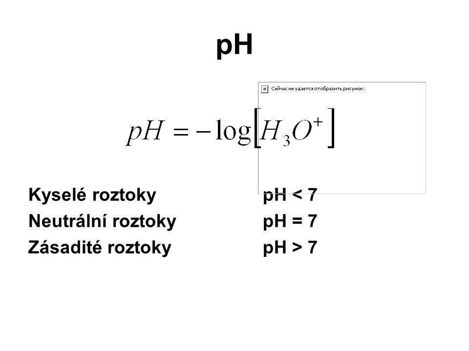 pH Kyselé roztoky pH < 7 Neutrální roztoky pH = 7