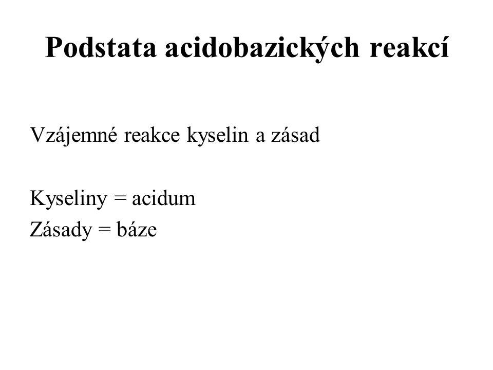 Podstata acidobazických reakcí