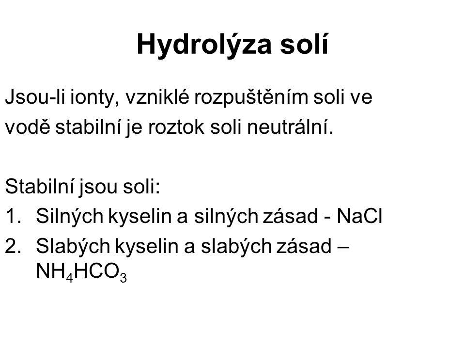 Hydrolýza solí Jsou-li ionty, vzniklé rozpuštěním soli ve
