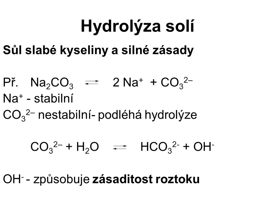 Hydrolýza solí Sůl slabé kyseliny a silné zásady