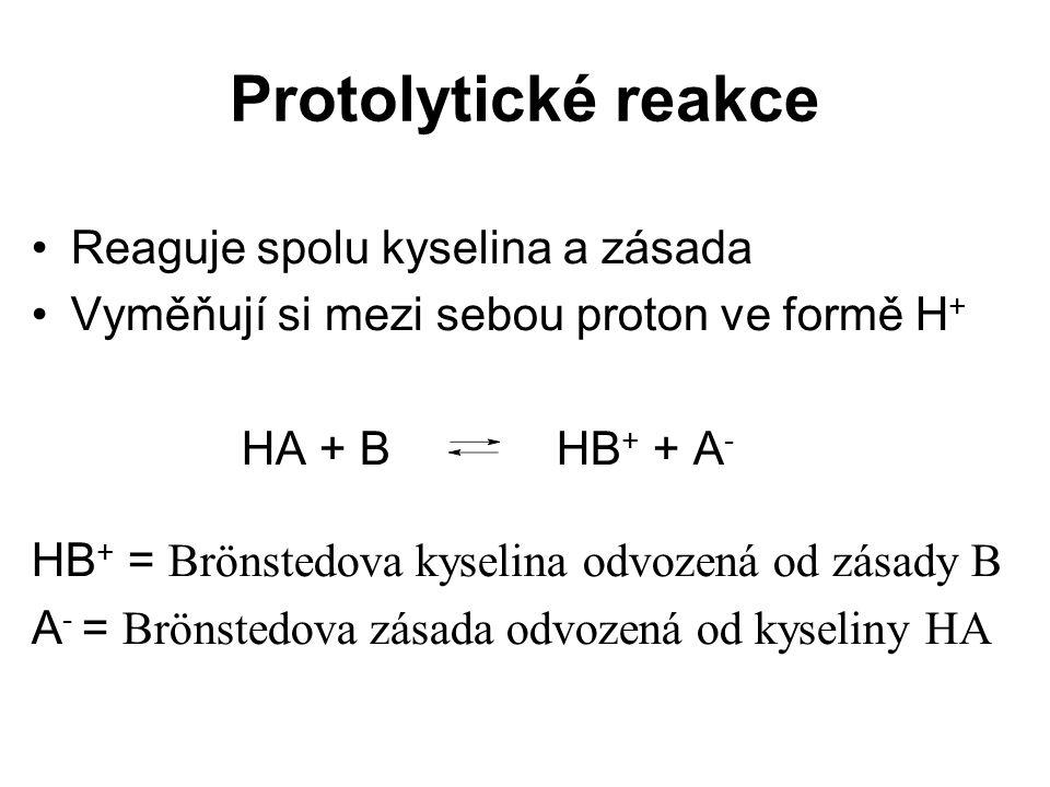 Protolytické reakce Reaguje spolu kyselina a zásada