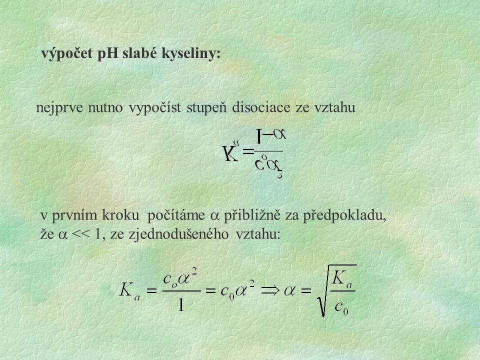 výpočet pH slabé kyseliny: