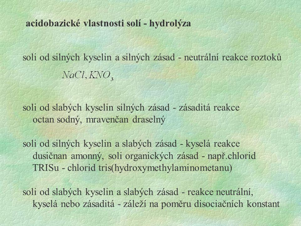 acidobazické vlastnosti solí - hydrolýza