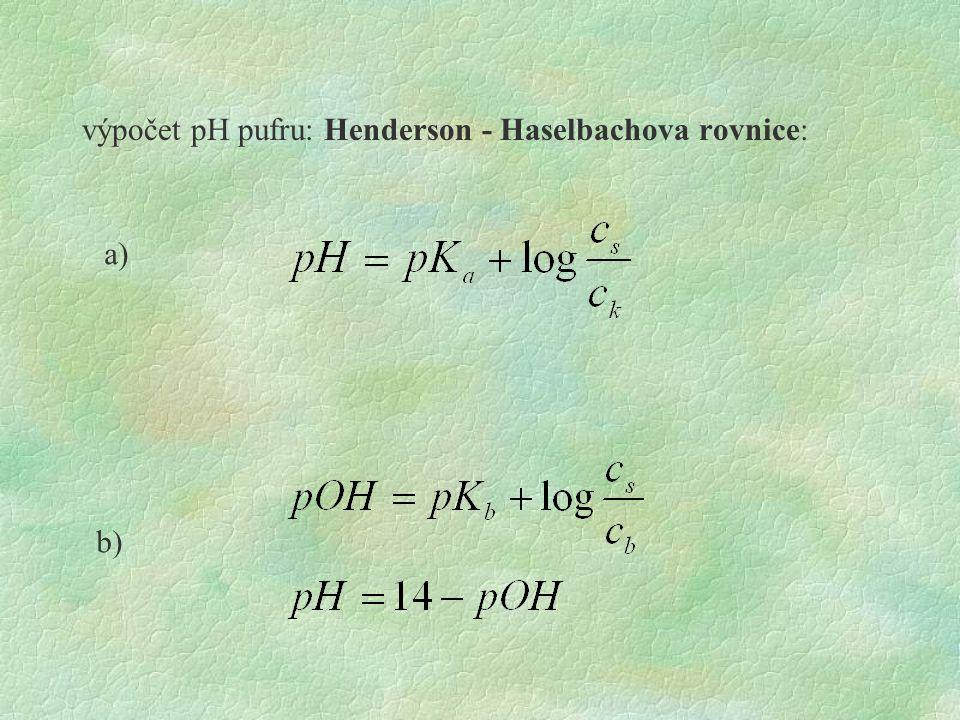 výpočet pH pufru: Henderson - Haselbachova rovnice: