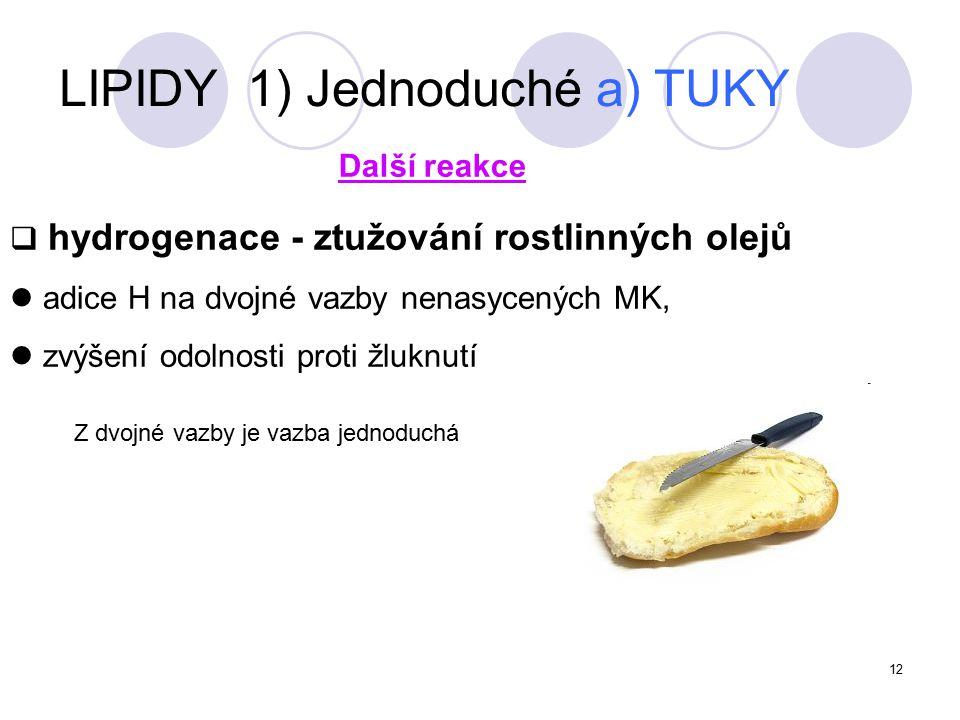 LIPIDY 1) Jednoduché a) TUKY