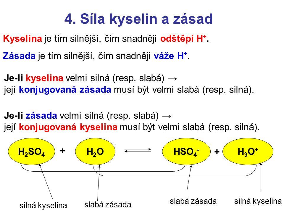 4. Síla kyselin a zásad Kyselina je tím silnější, čím snadněji odštěpí H+. Zásada je tím silnější, čím snadněji váže H+.