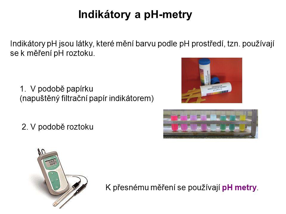 Indikátory a pH-metry Indikátory pH jsou látky, které mění barvu podle pH prostředí, tzn. používají se k měření pH roztoku.