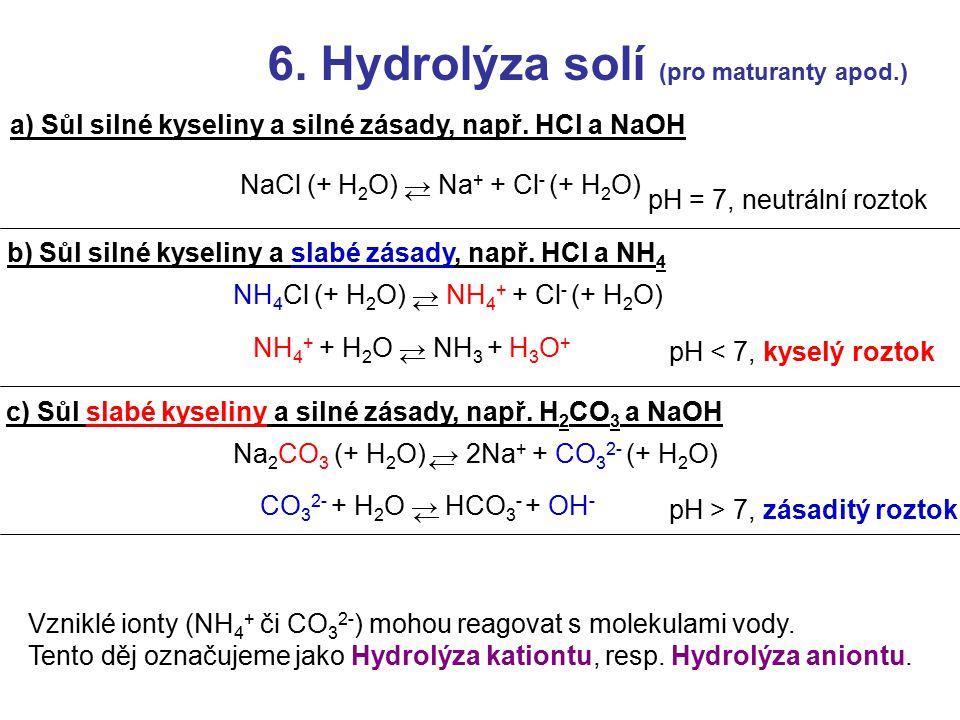 6. Hydrolýza solí (pro maturanty apod.)