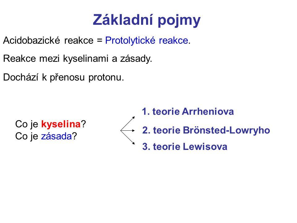 Základní pojmy Acidobazické reakce = Protolytické reakce.