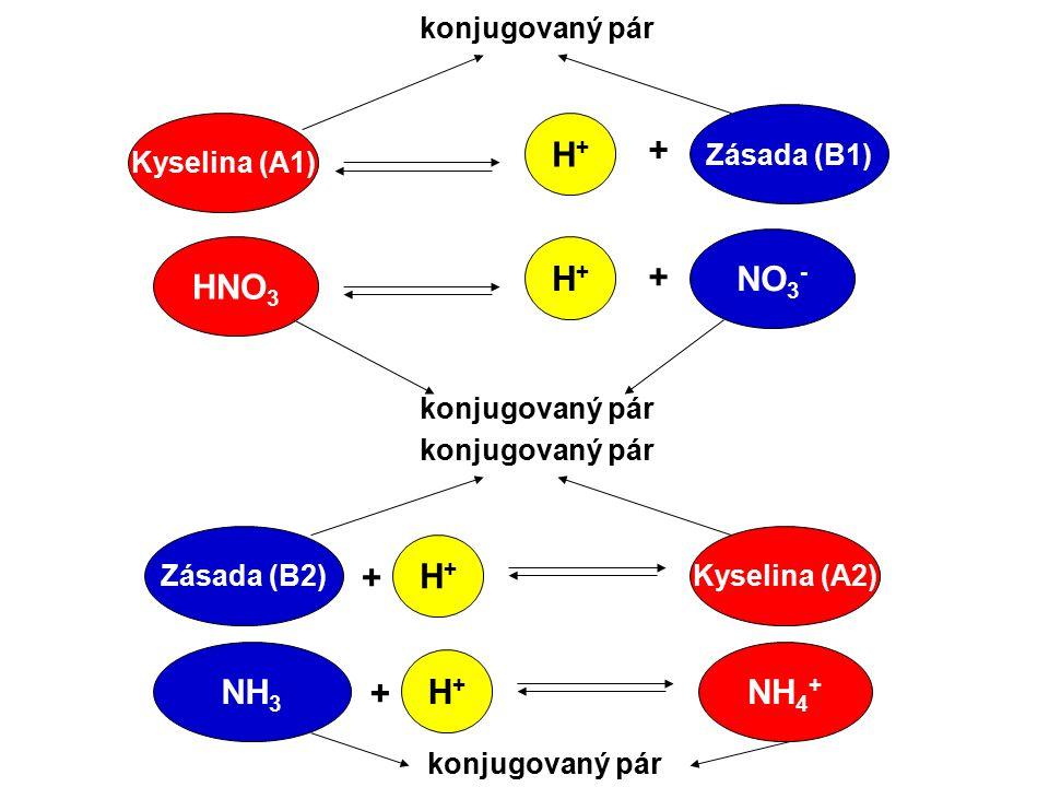 H+ + NO3- HNO3 H+ + H+ + NH3 NH4+ H+ + konjugovaný pár Zásada (B1)