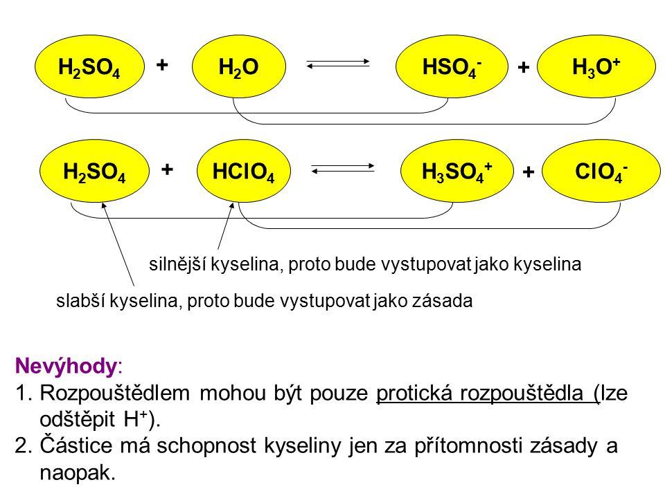 H2SO4 H2O HSO4- H3O+ H2SO4 HClO4 H3SO4+ ClO4-